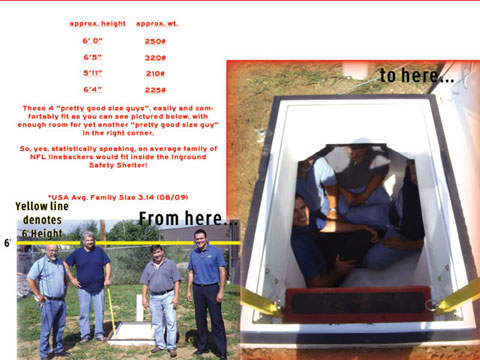 Granger ISS Tornado Shelter with 4 NFL sized guys in it, Granger ISS Tornado Shelter